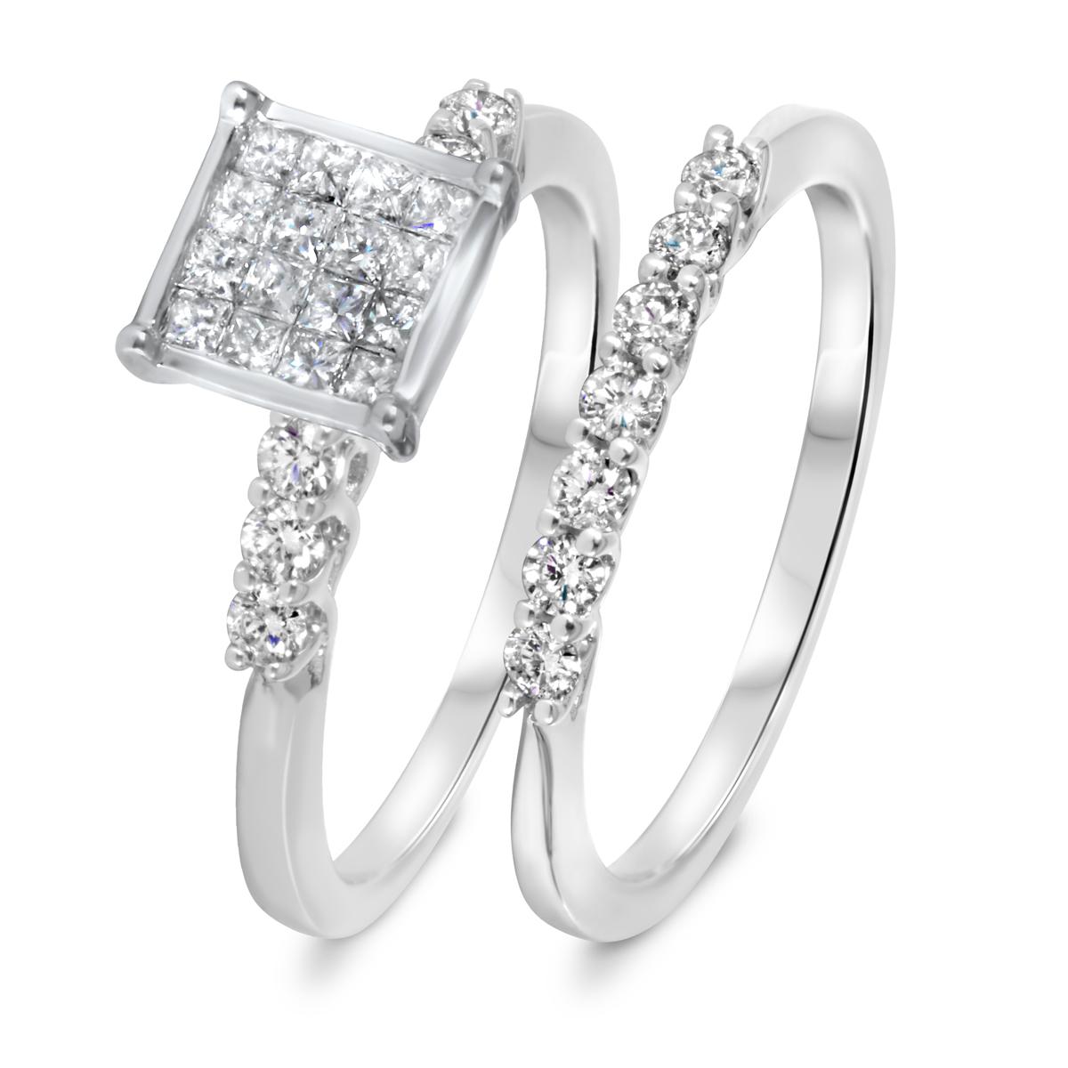 3/4 CT. T.W. Diamond Women's Bridal Wedding Ring Set 14K White Gold