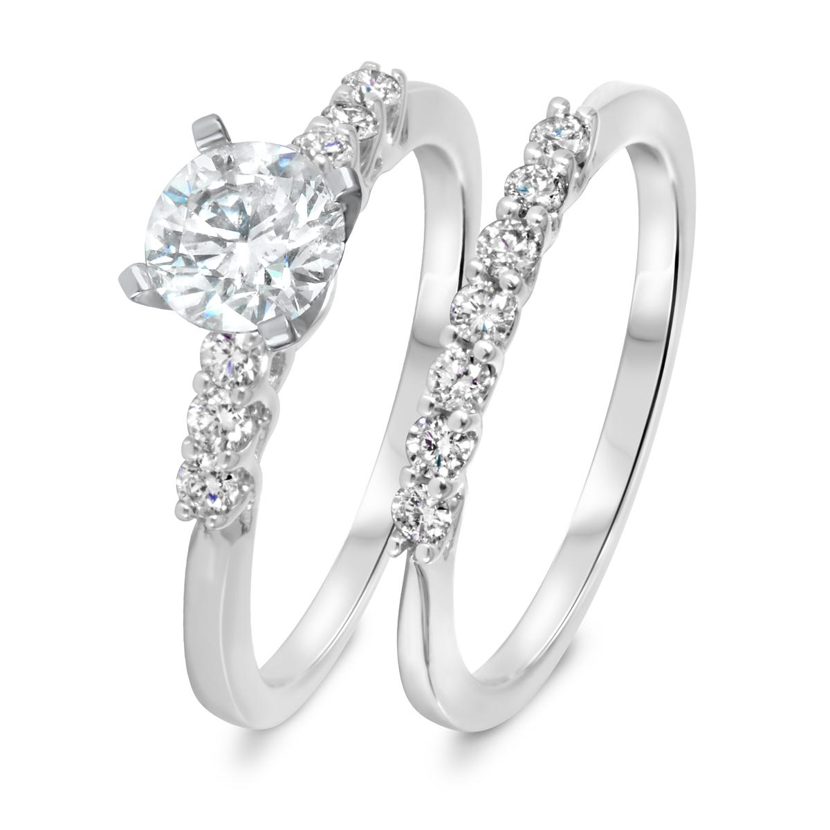1 3/8 CT. T.W. Diamond Women's Bridal Wedding Ring Set 14K White Gold