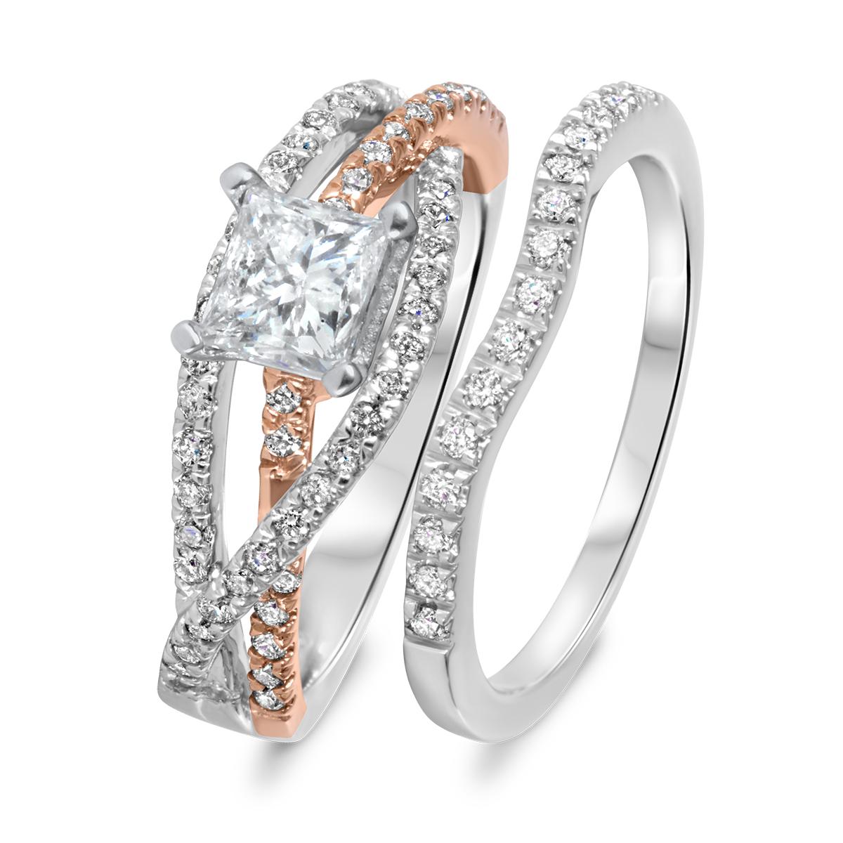1 1/7 CT. T.W. Diamond Women's Bridal Wedding Ring Set 14K White Gold