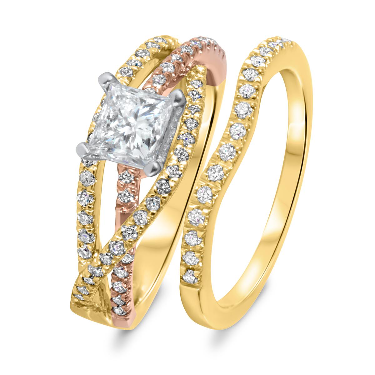1 1/7 CT. T.W. Diamond Women's Bridal Wedding Ring Set 10K Yellow Gold