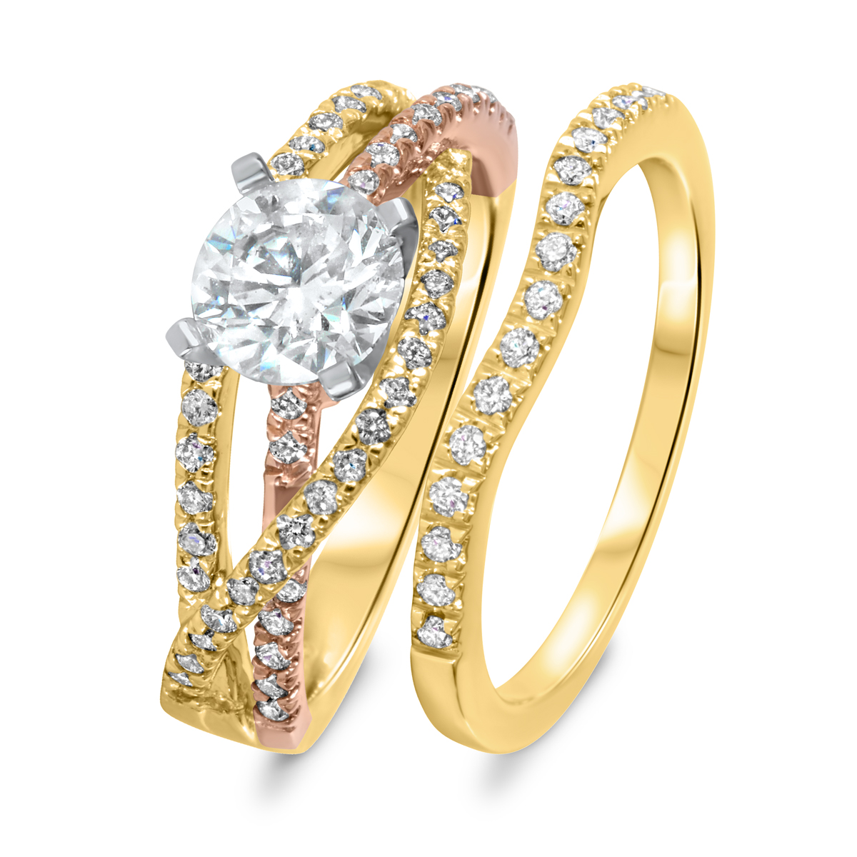 1 3/8 CT. T.W. Diamond Women's Bridal Wedding Ring Set 14K Yellow Gold