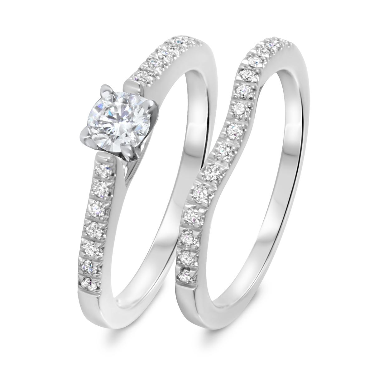 1/2 CT. T.W. Diamond Women's Bridal Wedding Ring Set 14K White Gold