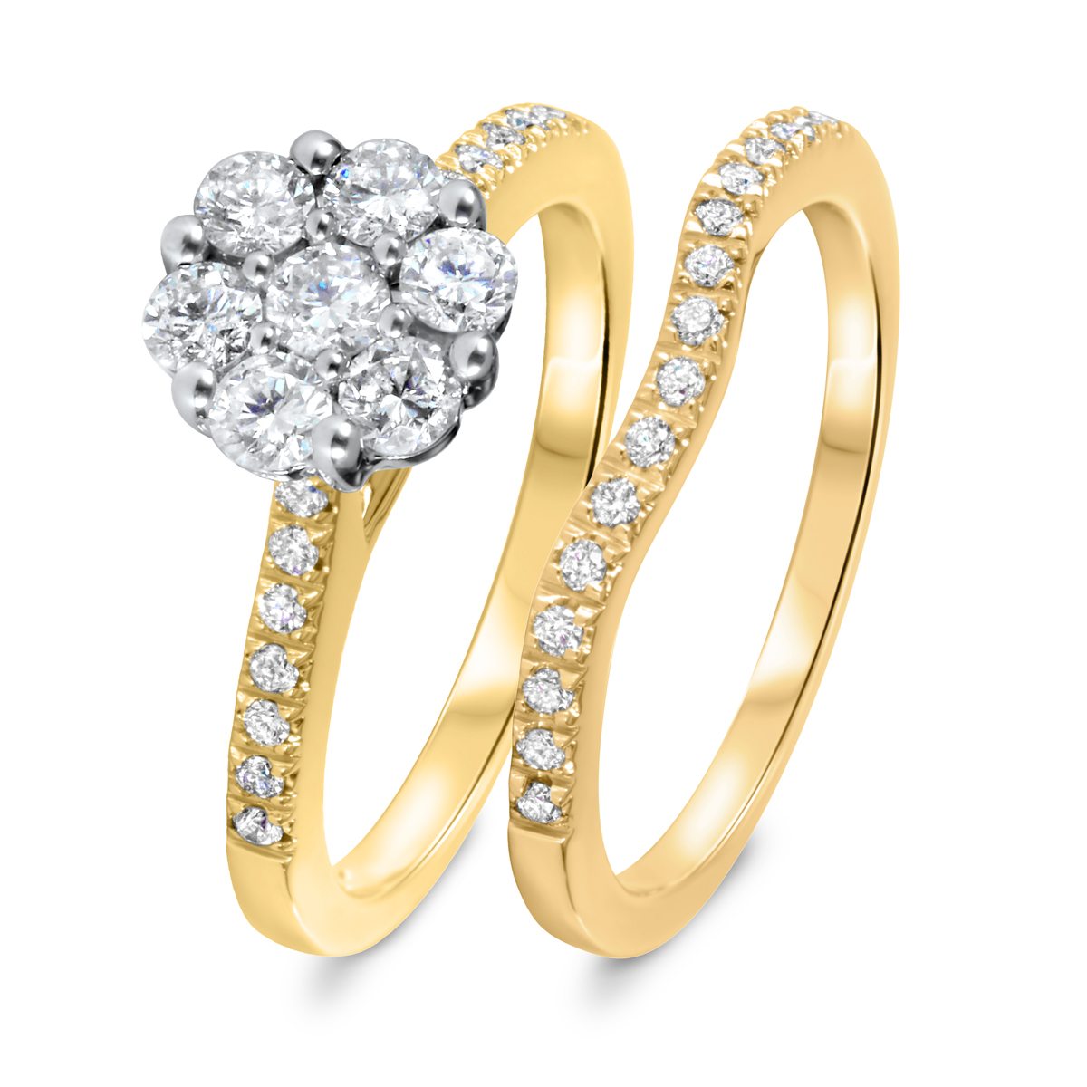 7/8 CT. T.W. Diamond Women's Bridal Wedding Ring Set 14K Yellow Gold