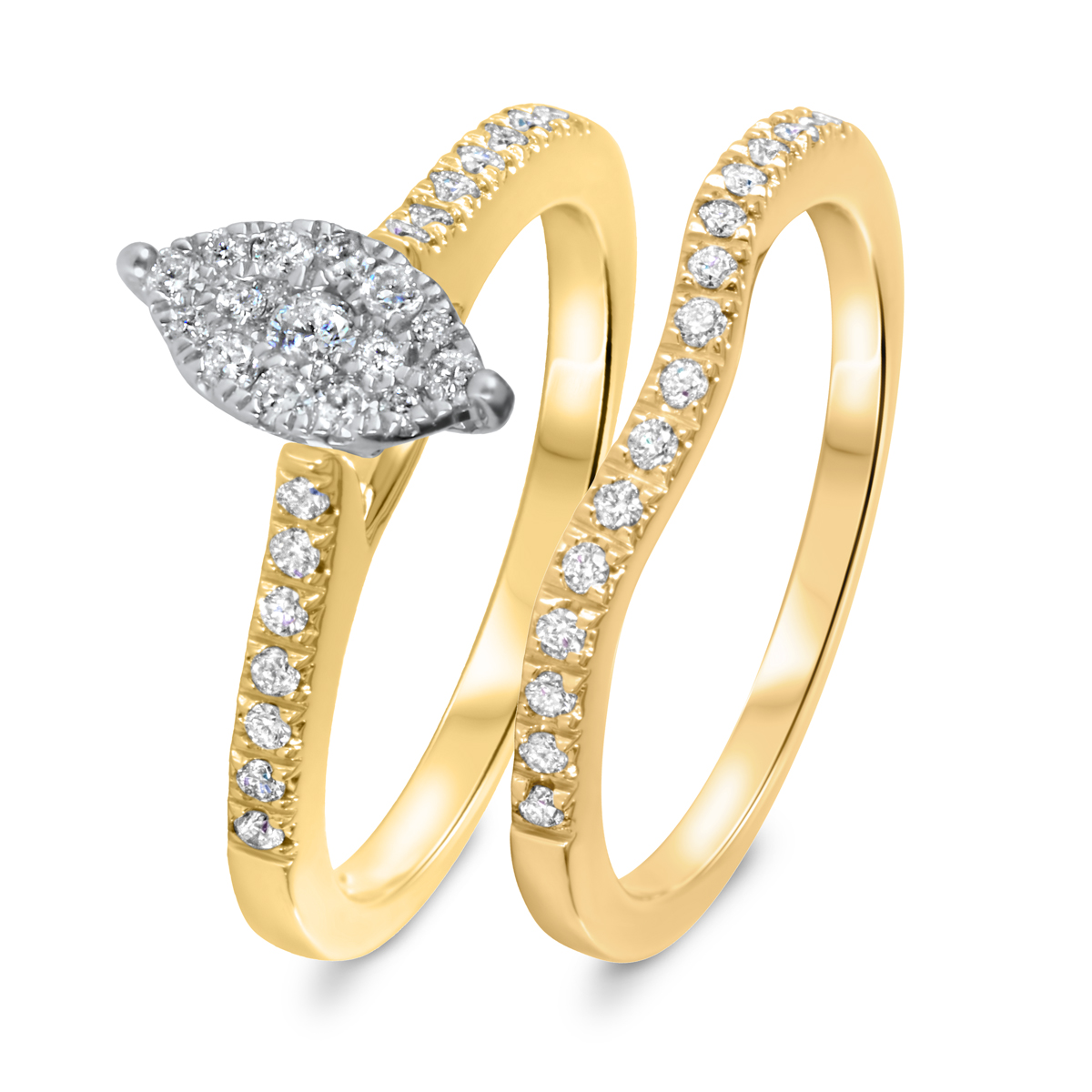 3/8 CT. T.W. Diamond Women's Bridal Wedding Ring Set 14K Yellow Gold