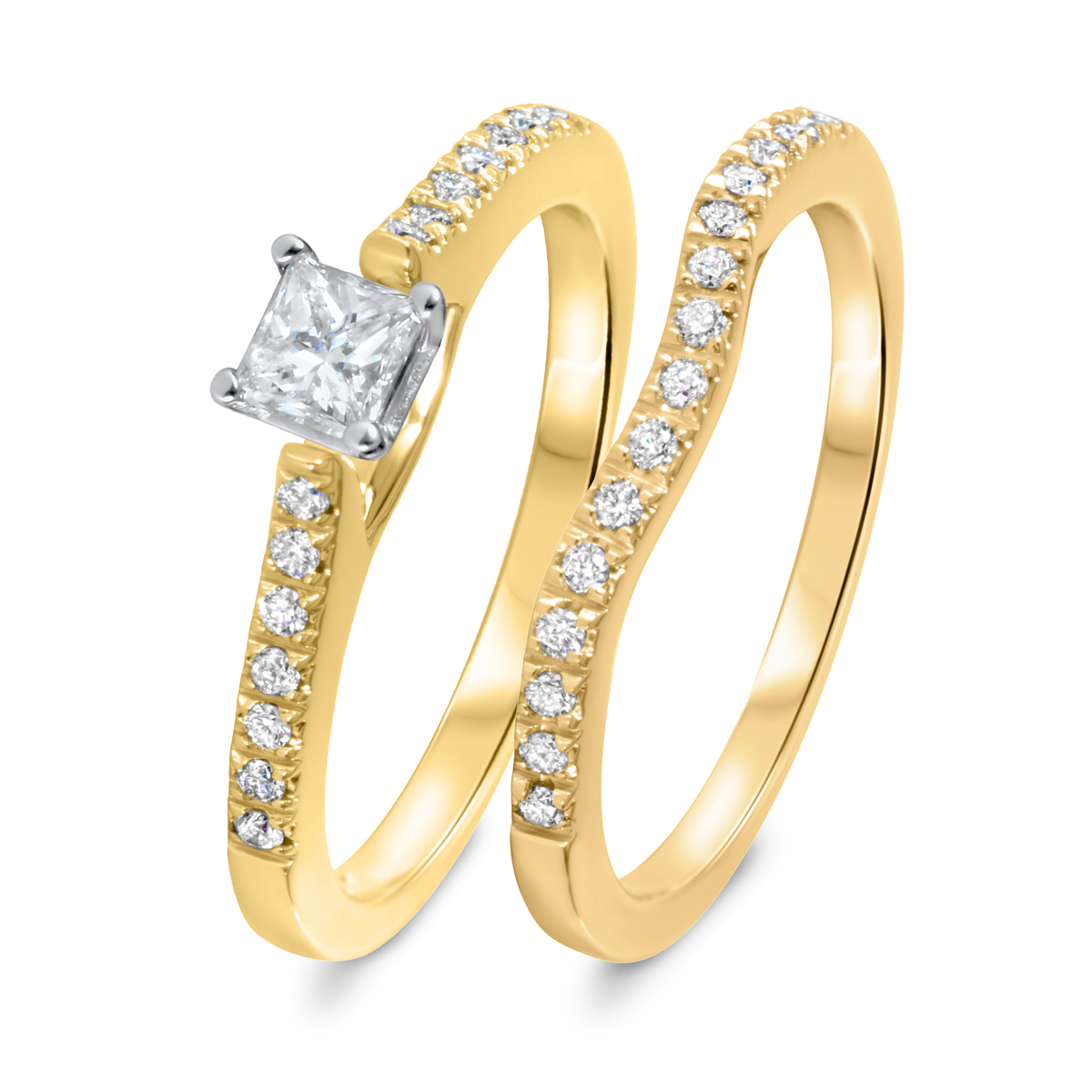 1/2 CT. T.W. Diamond Women's Bridal Wedding Ring Set 10K Yellow Gold