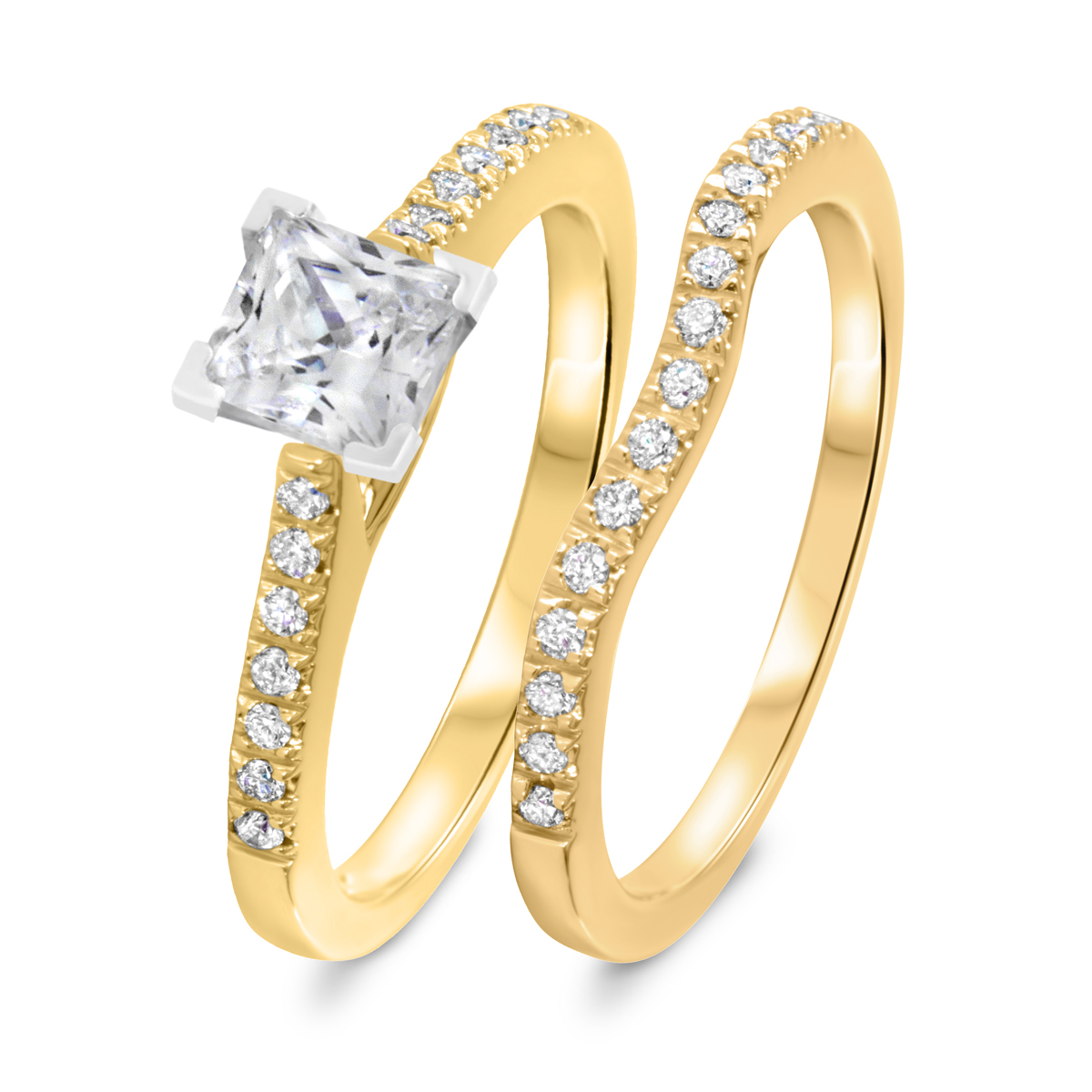 1 1/4 CT. T.W. Diamond Women's Bridal Wedding Ring Set 10K Yellow Gold