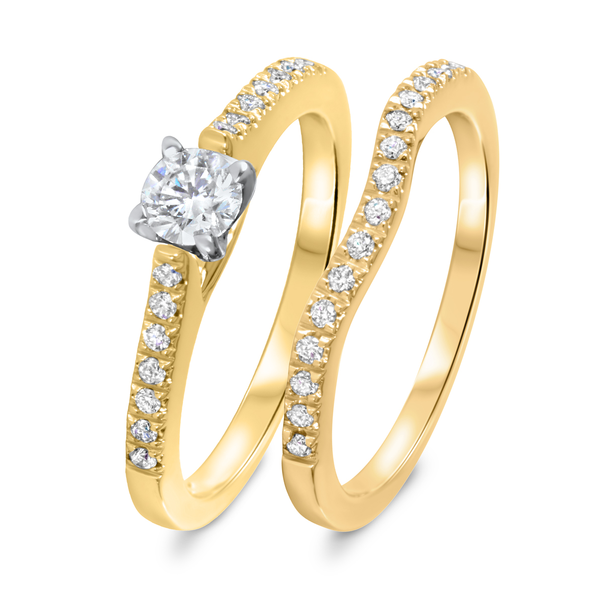 1/2 CT. T.W. Diamond Women's Bridal Wedding Ring Set 10K Yellow Gold