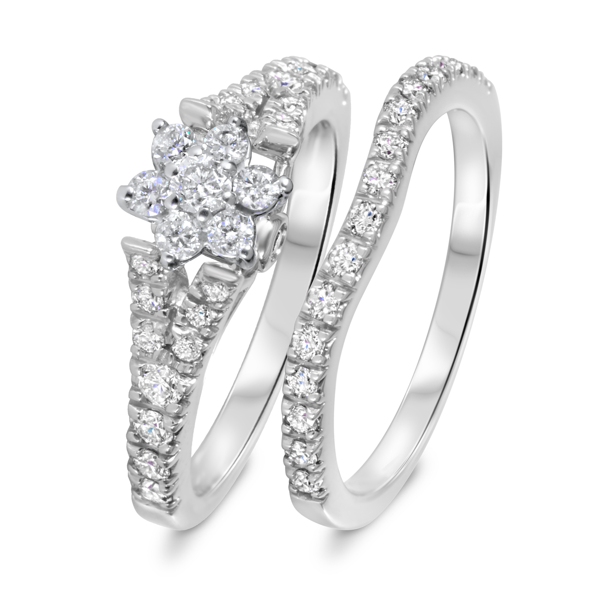 1 CT. T.W. Diamond Women's Bridal Wedding Ring Set 14K White Gold