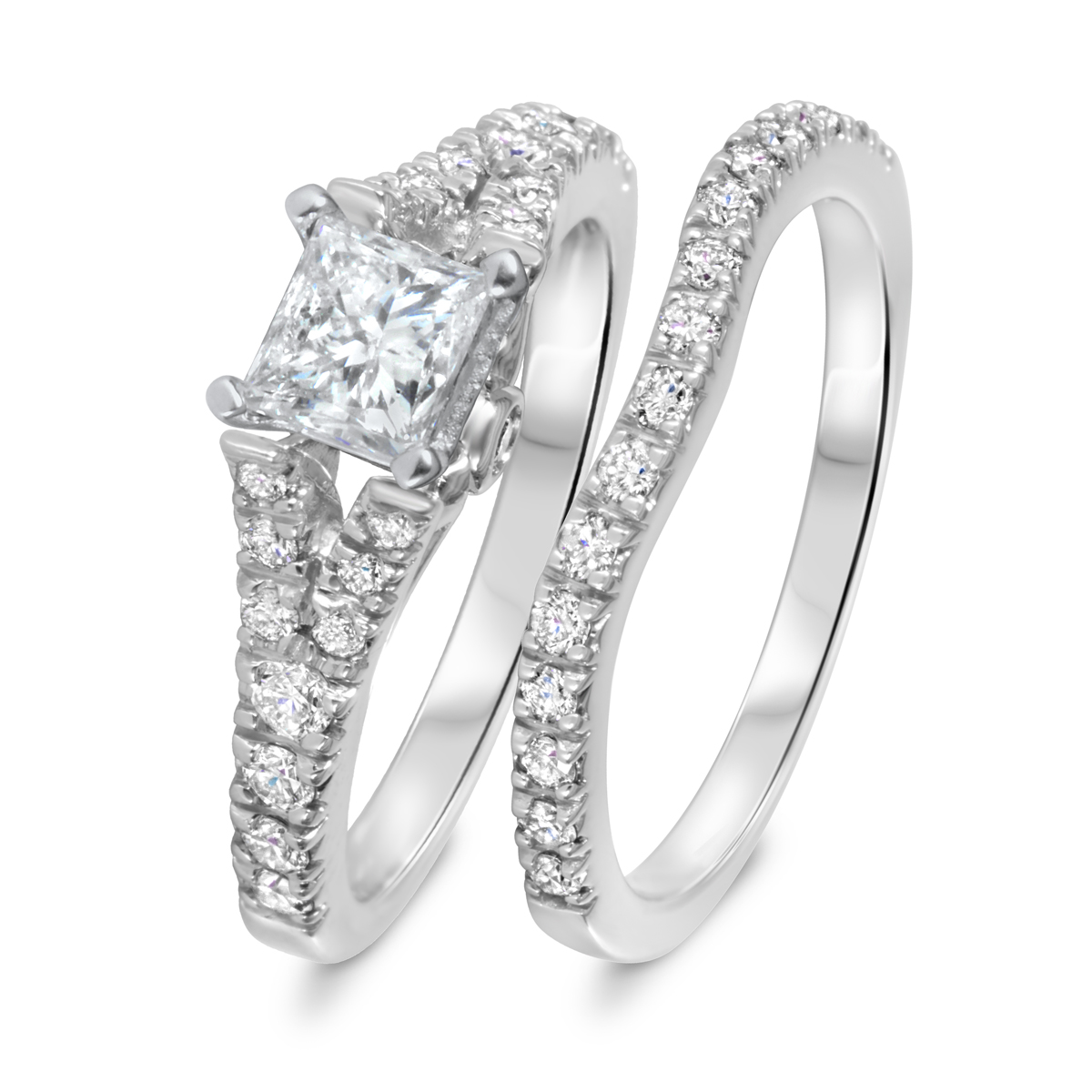 1 1/2 CT. T.W. Diamond Women's Bridal Wedding Ring Set 14K White Gold
