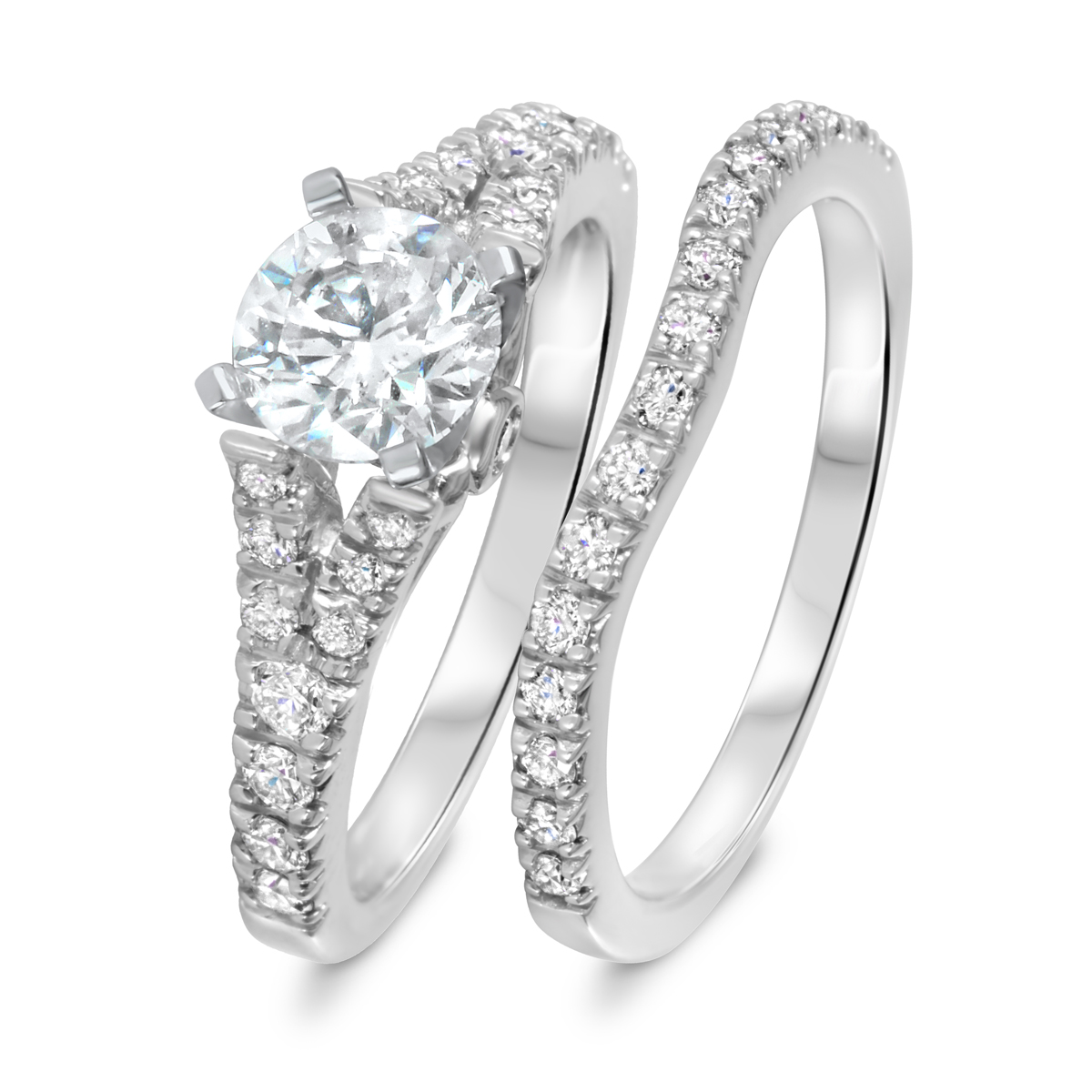 1 3/4 CT. T.W. Diamond Women's Bridal Wedding Ring Set 14K White Gold