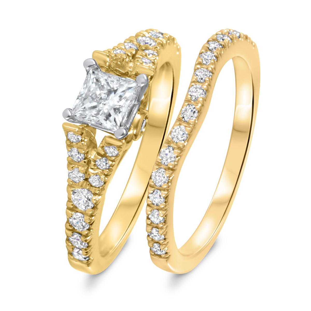 1 1/4 CT. T.W. Diamond Women's Bridal Wedding Ring Set 10K Yellow Gold