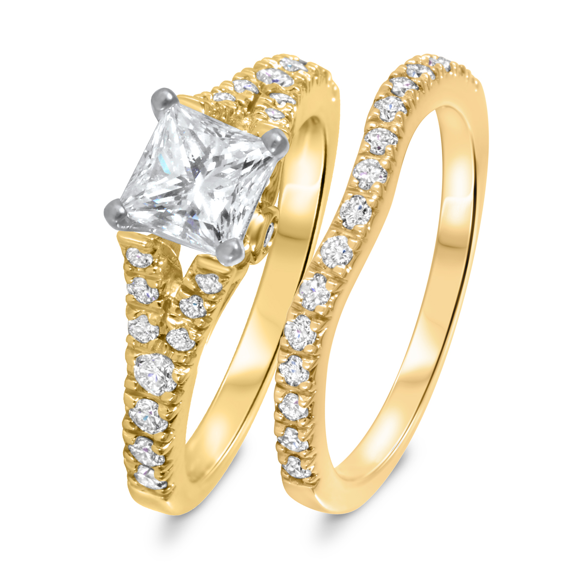 1 3/4 CT. T.W. Diamond Women's Bridal Wedding Ring Set 14K Yellow Gold