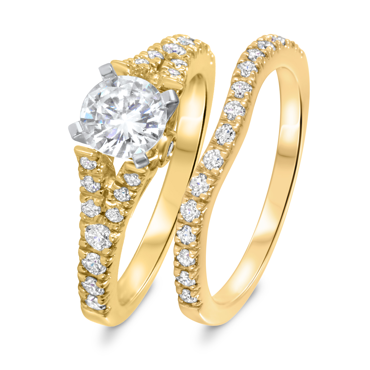 1 1/2 CT. T.W. Diamond Women's Bridal Wedding Ring Set 14K Yellow Gold