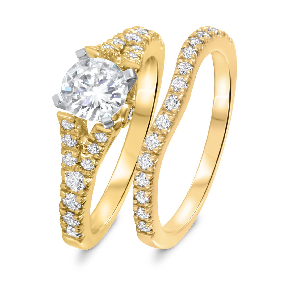 1 1/2 CT. T.W. Diamond Women's Bridal Wedding Ring Set 14K Yellow Gold