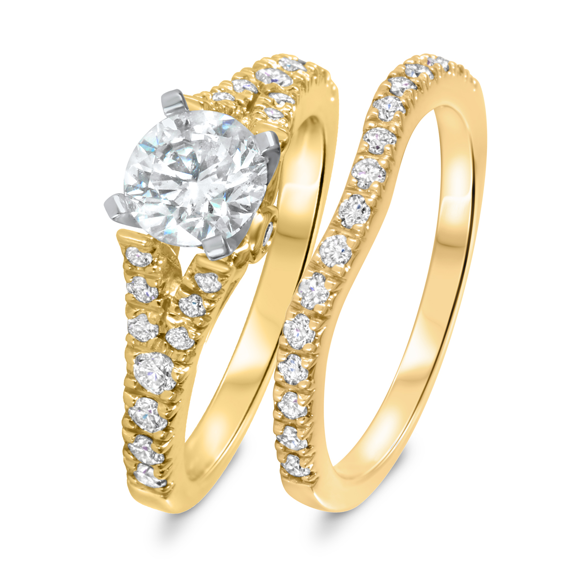 1 3/4 CT. T.W. Diamond Women's Bridal Wedding Ring Set 10K Yellow Gold