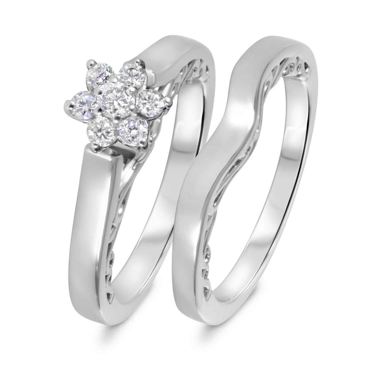 1/4 CT. T.W. Diamond Women's Bridal Wedding Ring Set 14K White Gold