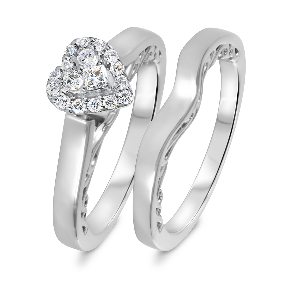1/4 CT. T.W. Diamond Women's Bridal Wedding Ring Set 10K White Gold