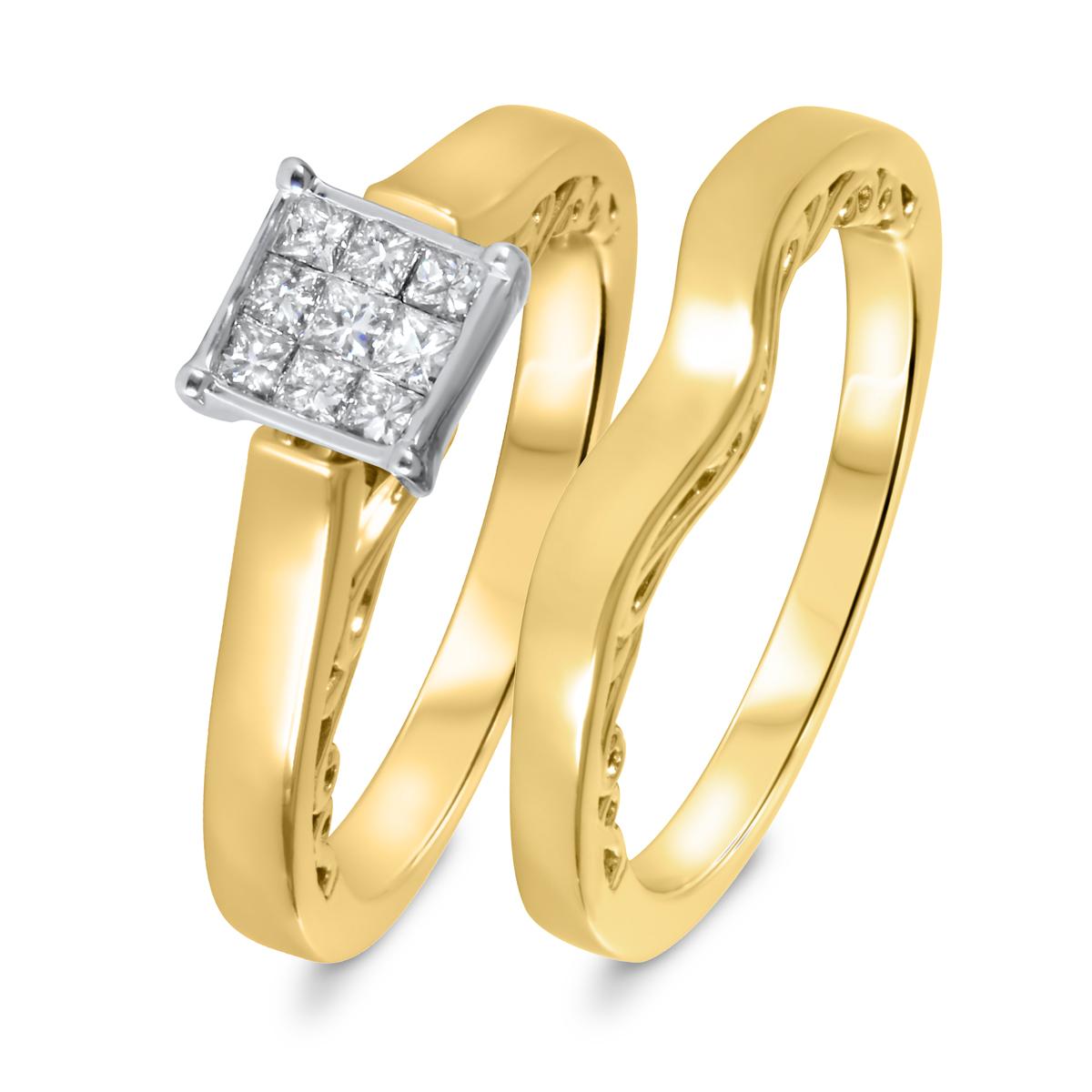 1/3 CT. T.W. Diamond Women's Bridal Wedding Ring Set 10K Yellow Gold