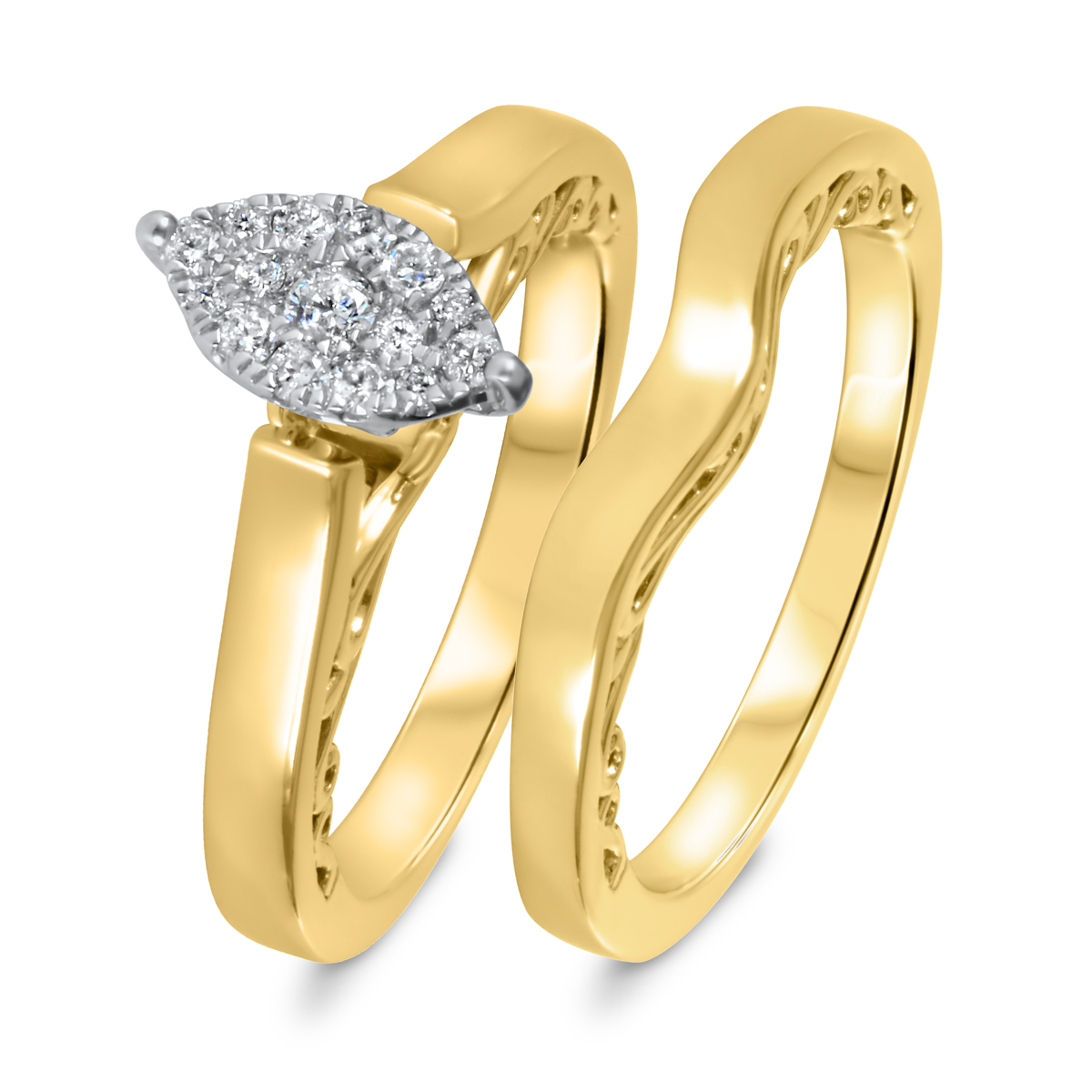 1/5 CT. T.W. Diamond Women's Bridal Wedding Ring Set 10K Yellow Gold