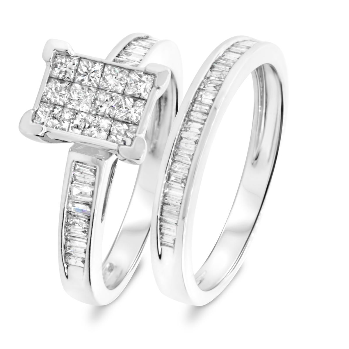 1 1/10 CT. T.W. Princess, Baguette Cut Diamond Ladies Bridal Wedding Ring Set