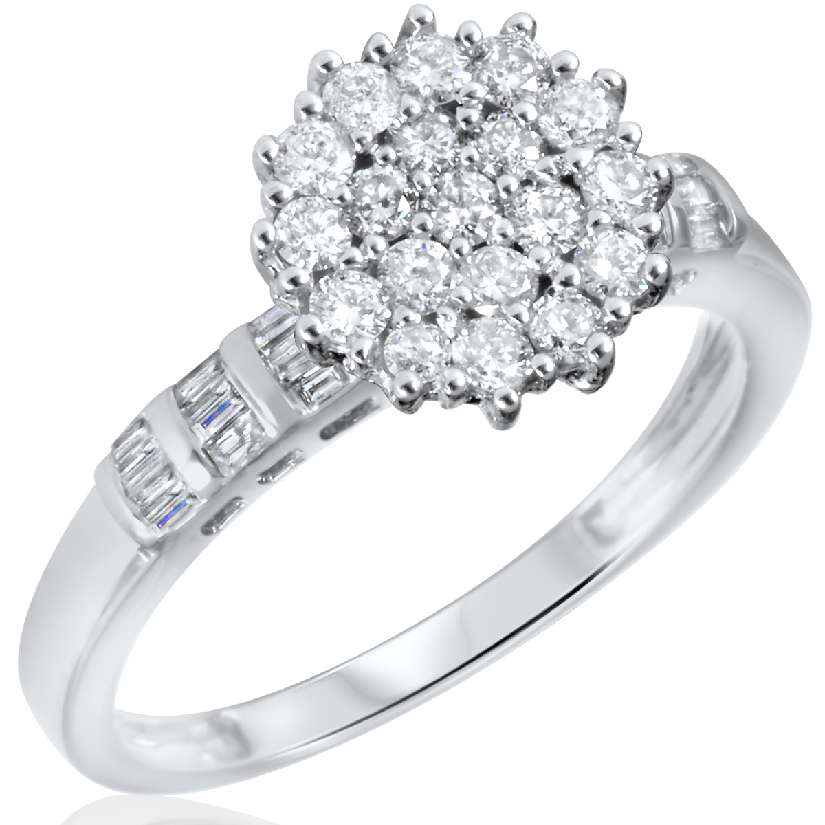 2/3 CT. T.W. Diamond Ladies Engagement Ring 14K White Gold- Size 8