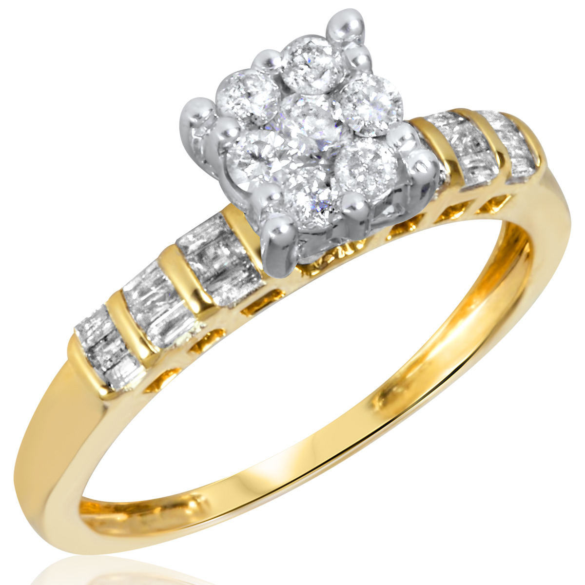 3/8 CT. T.W. Diamond Ladies Engagement Ring 14K Yellow Gold- Size 8