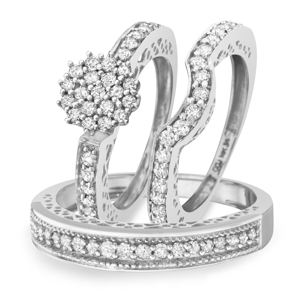 1 CT. T.W. Round Cut Diamond Women's Engagement Ring, Ladies Wedding Band, Men's