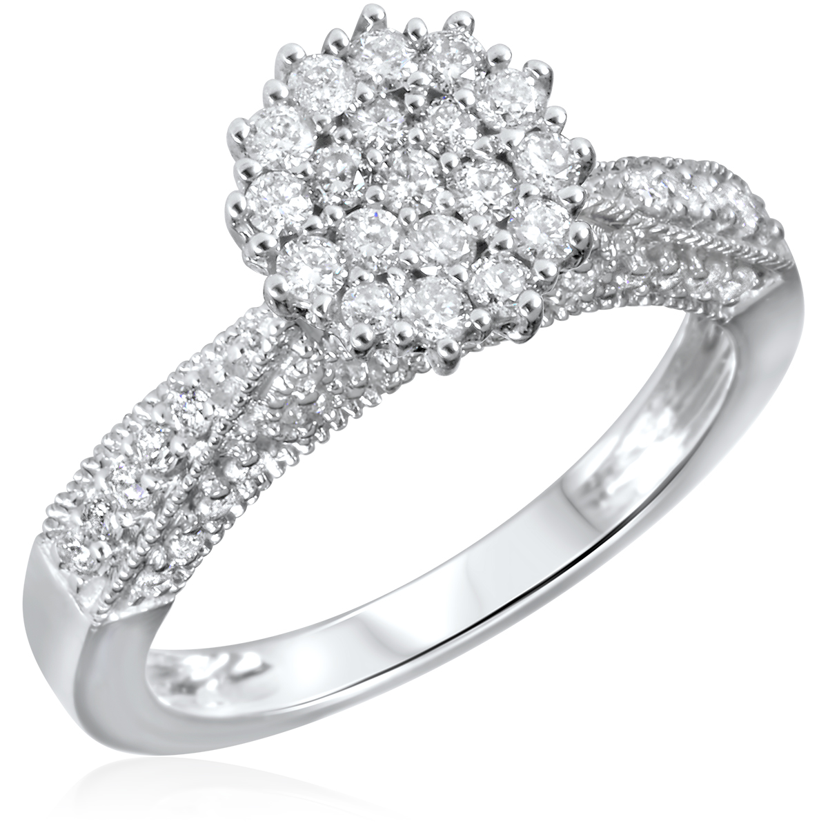 3/4 CT. T.W. Diamond Ladies Engagement Ring 14K White Gold- Size 8