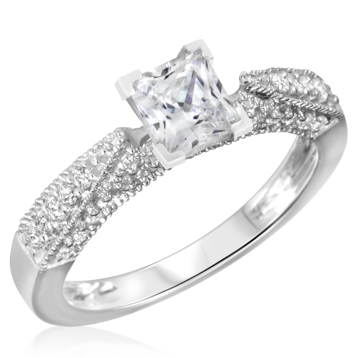 1 1/3 CT. T.W. Diamond Ladies Engagement Ring 14K White Gold- Size 8