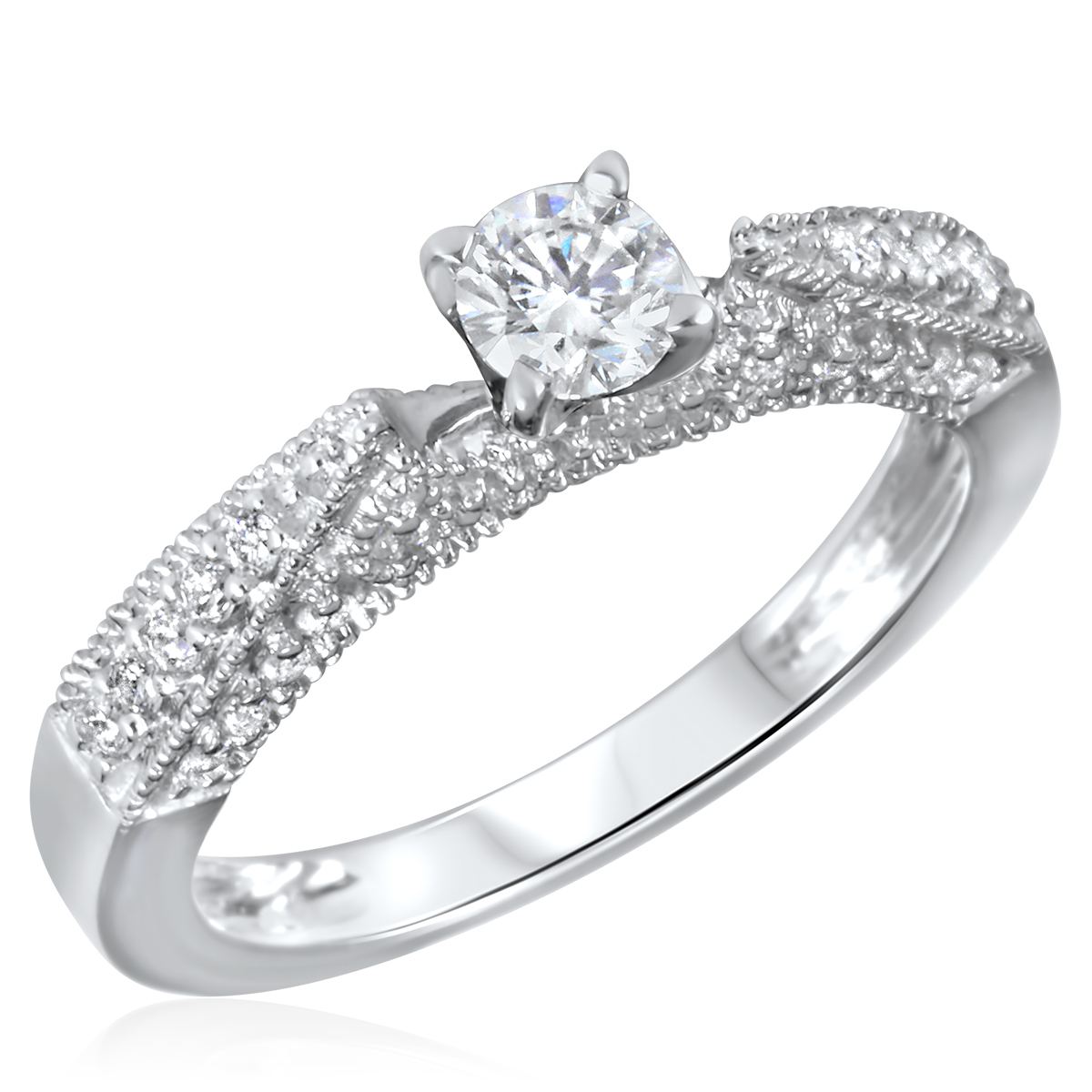 5/8 CT. T.W. Diamond Ladies Engagement Ring 10K White Gold- Size 8