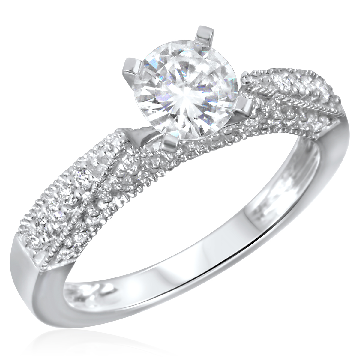 1 CT. T.W. Diamond Ladies Engagement Ring 14K White Gold- Size 8