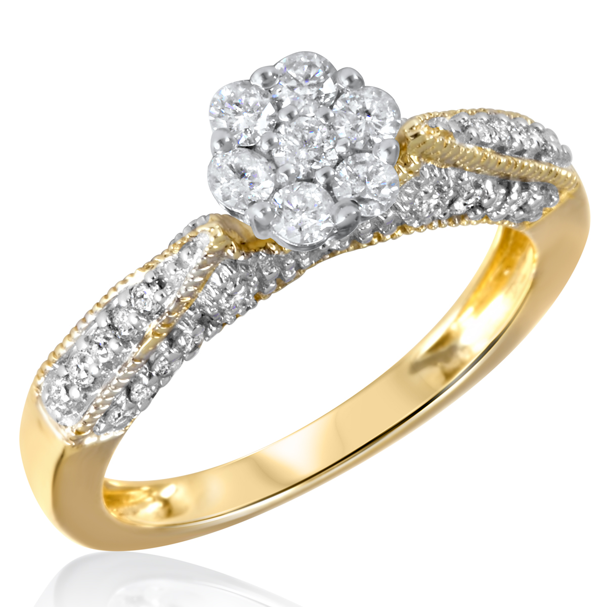 2/3 CT. T.W. Diamond Ladies Engagement Ring 10K Yellow Gold- Size 8