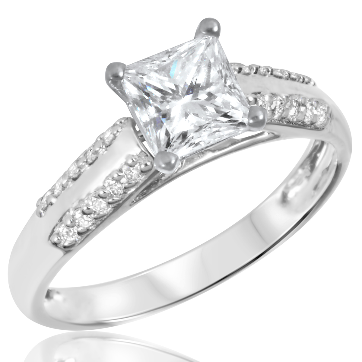 1 1/5 CT. T.W. Diamond Ladies Engagement Ring 14K White Gold- Size 8