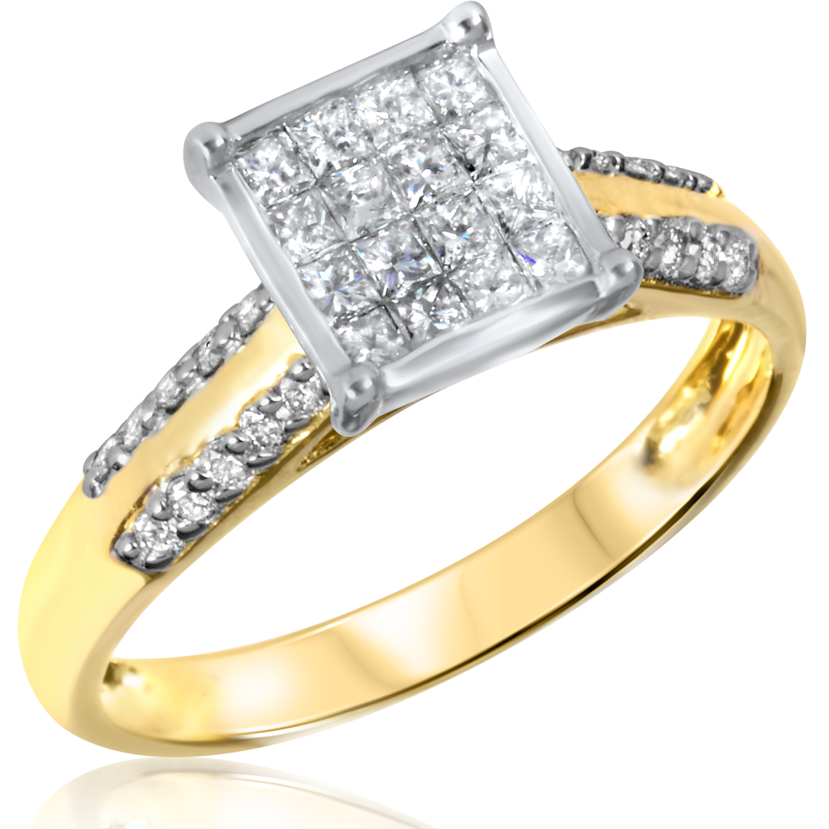 5/8 CT. T.W. Diamond Ladies Engagement Ring 10K Yellow Gold- Size 8