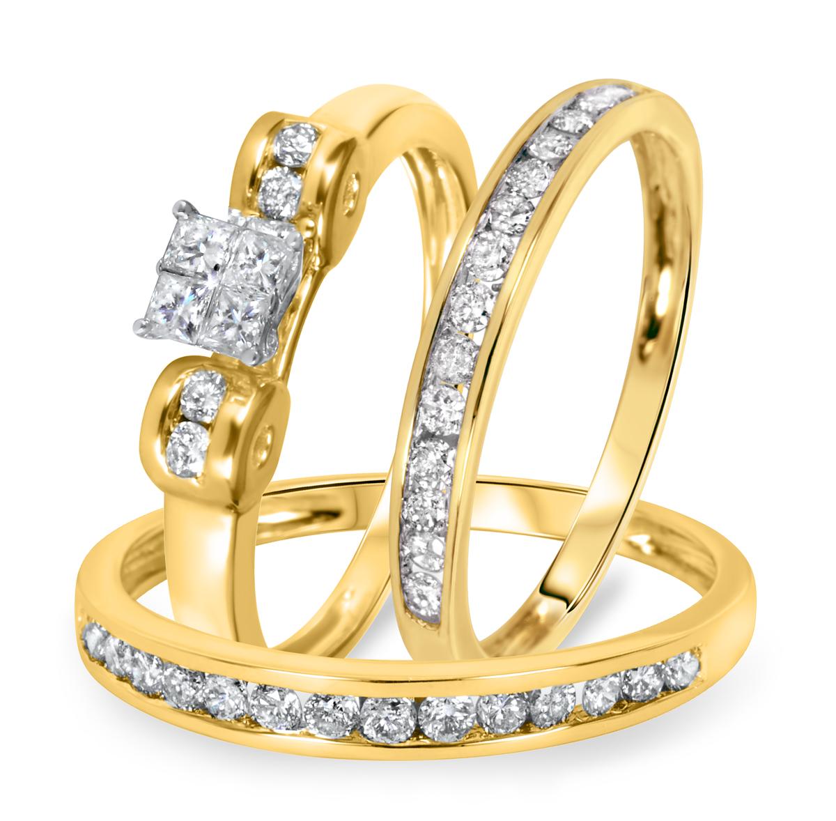 1 CT. T.W. Diamond Ladies Engagement Ring, Wedding Band, Men's Wedding Band