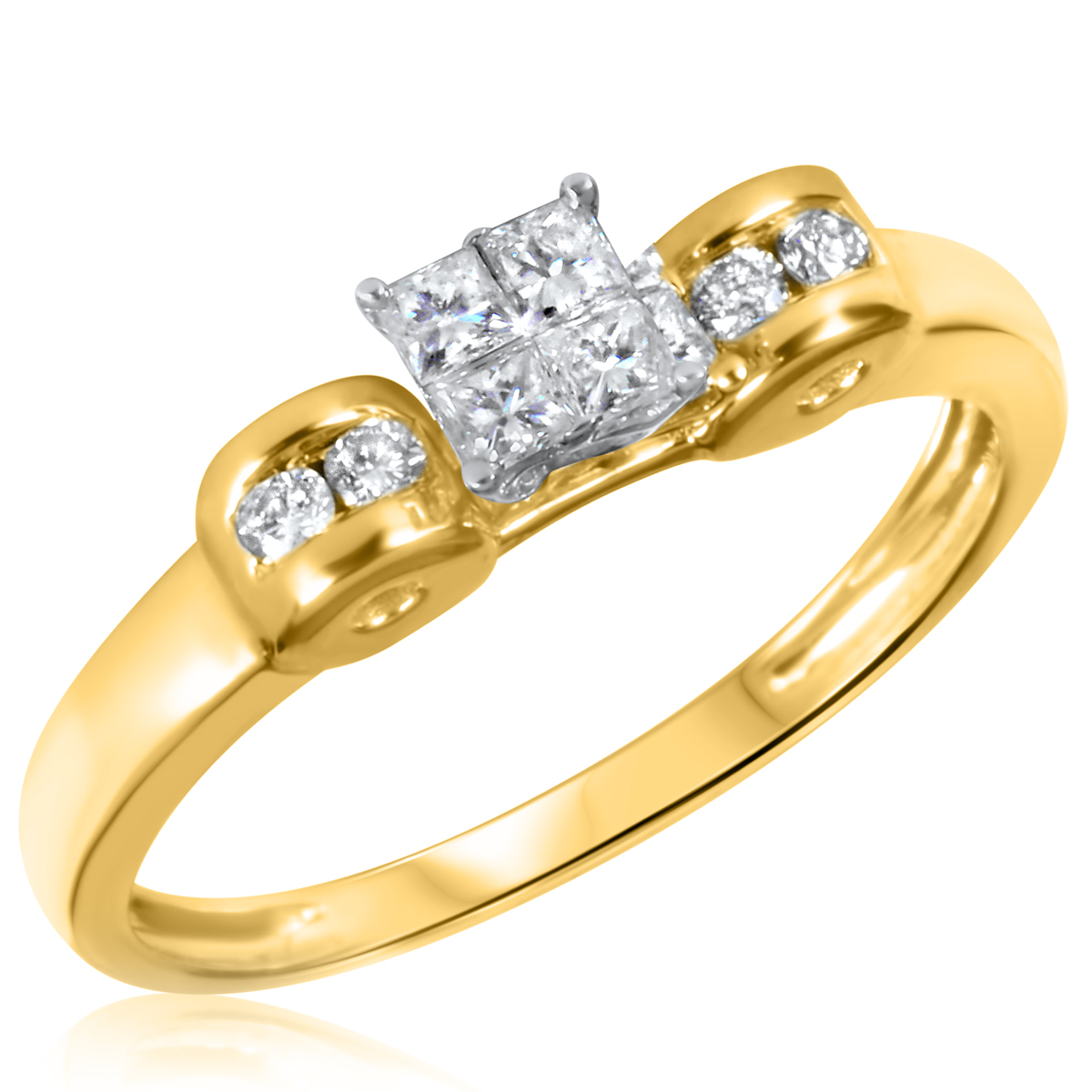 1/3 CT. T.W. Diamond Ladies Engagement Ring 10K Yellow Gold- Size 8