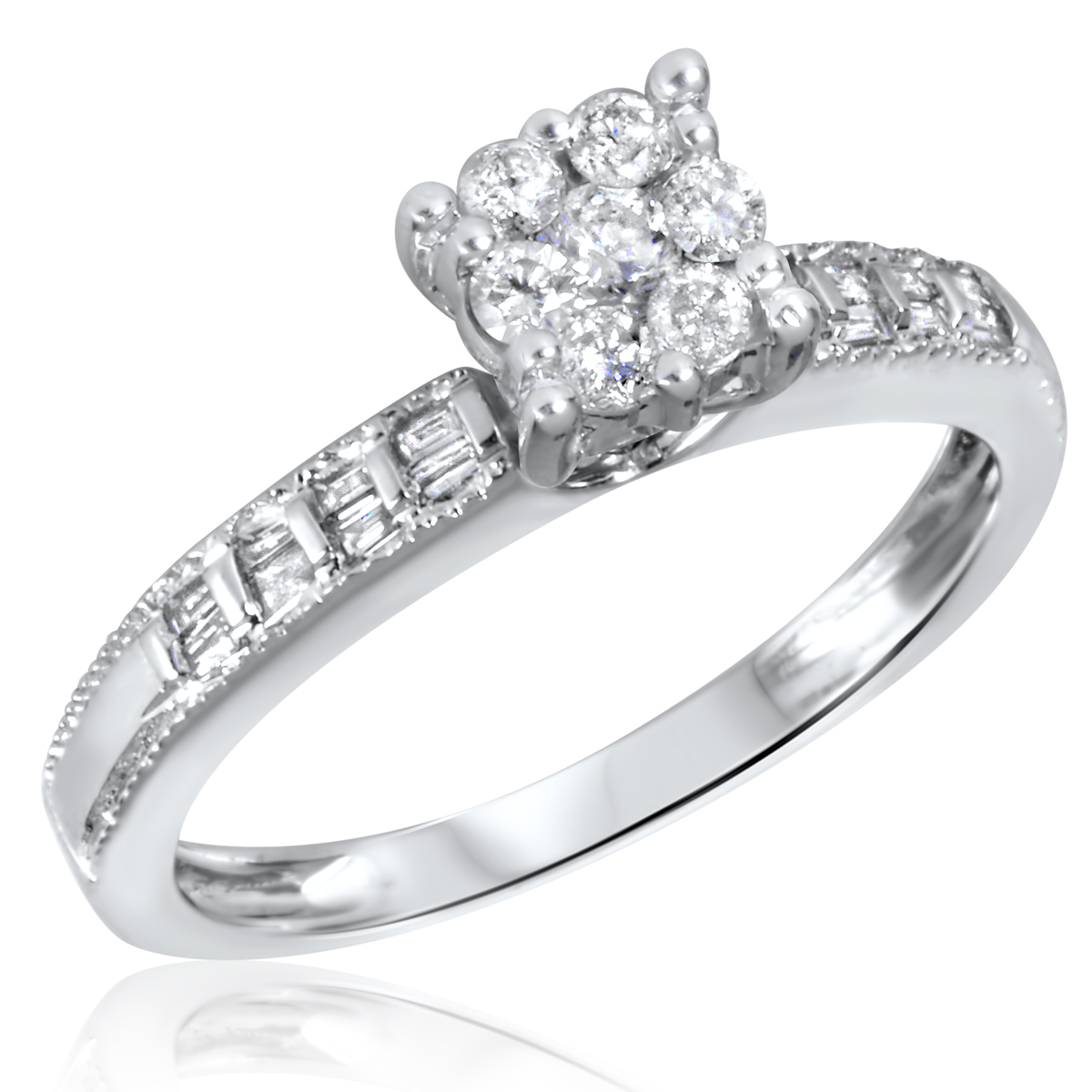 3/8 CT. T.W. Diamond Ladies Engagement Ring 10K White Gold- Size 8