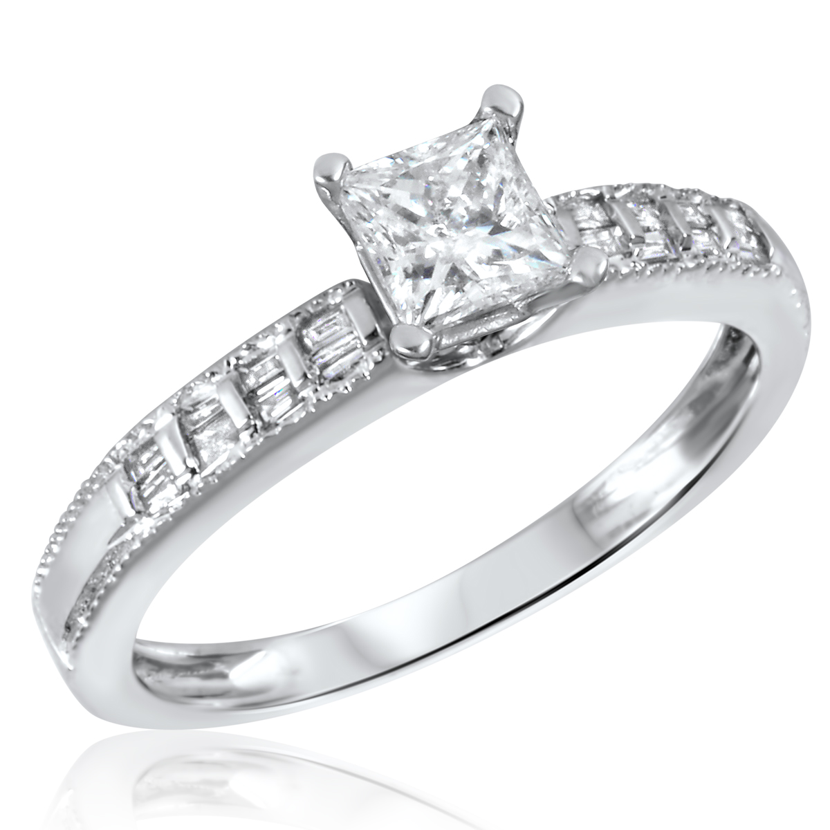2/3 CT. T.W. Diamond Ladies Engagement Ring 10K White Gold- Size 8