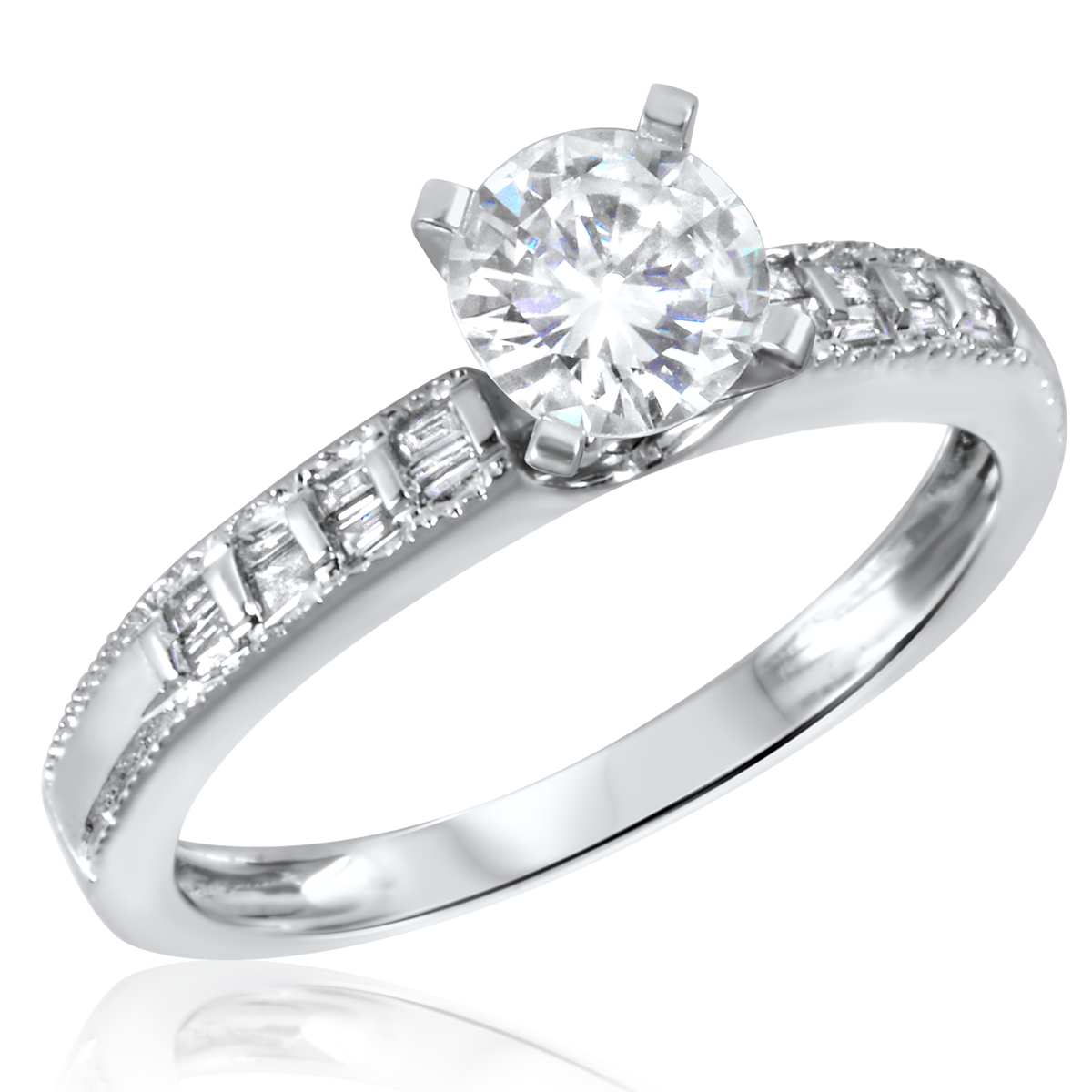 7/8 CT. T.W. Diamond Ladies Engagement Ring 10K White Gold- Size 8