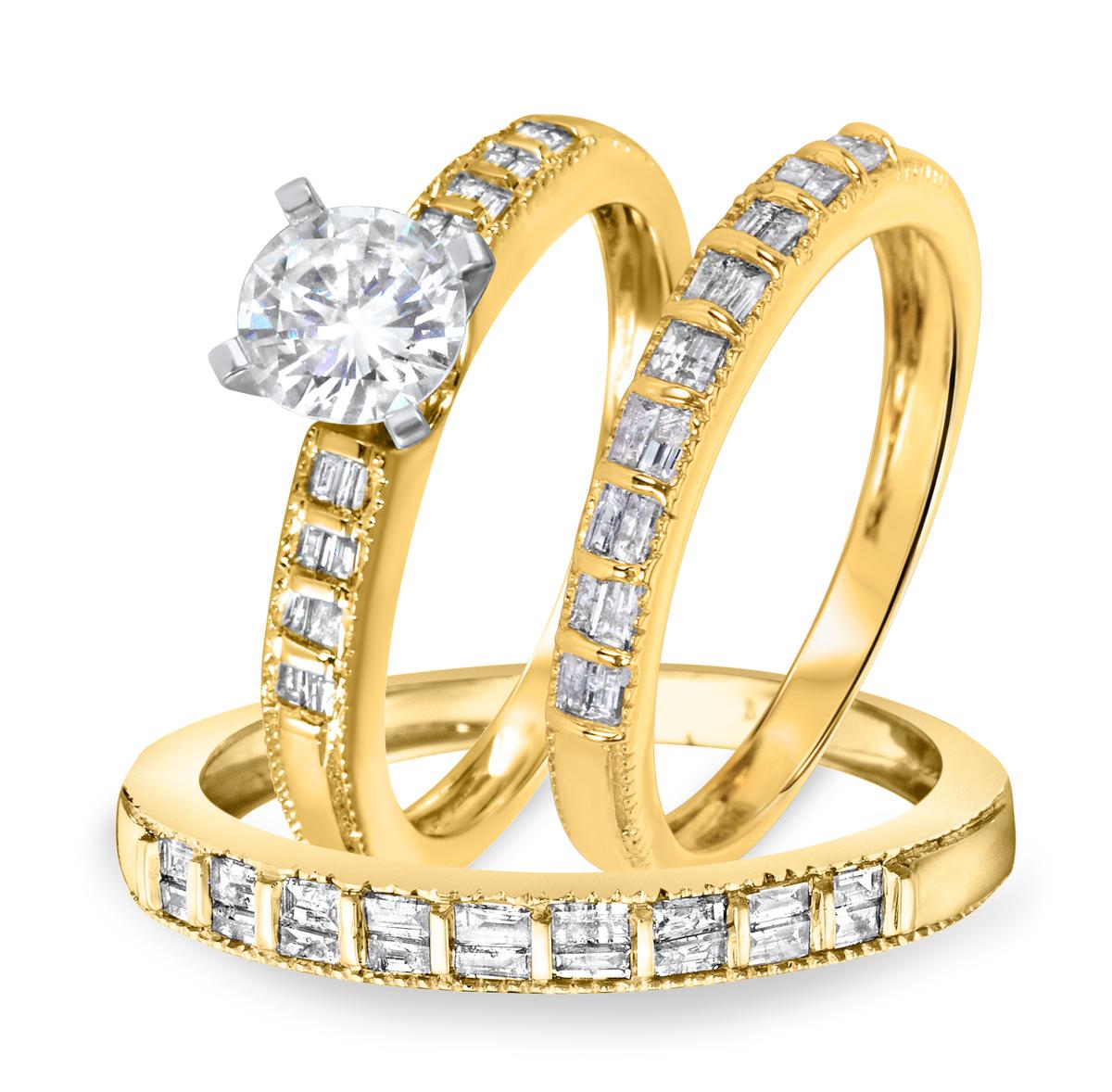 1 3/8 CT. T.W. Diamond Ladies Engagement Ring, Wedding Band, Men's Wedding Band