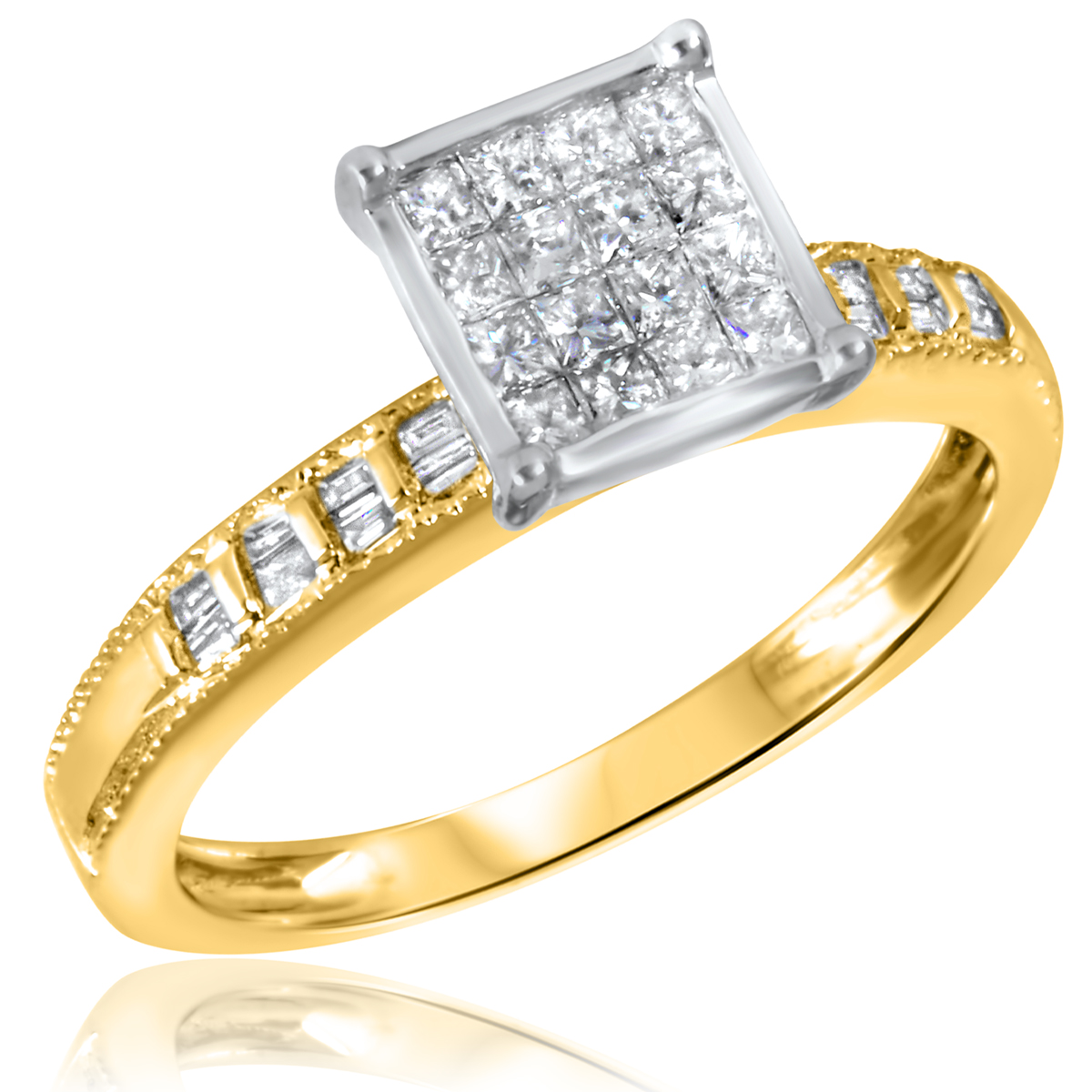 1/2 CT. T.W. Diamond Ladies Engagement Ring 14K Yellow Gold- Size 8