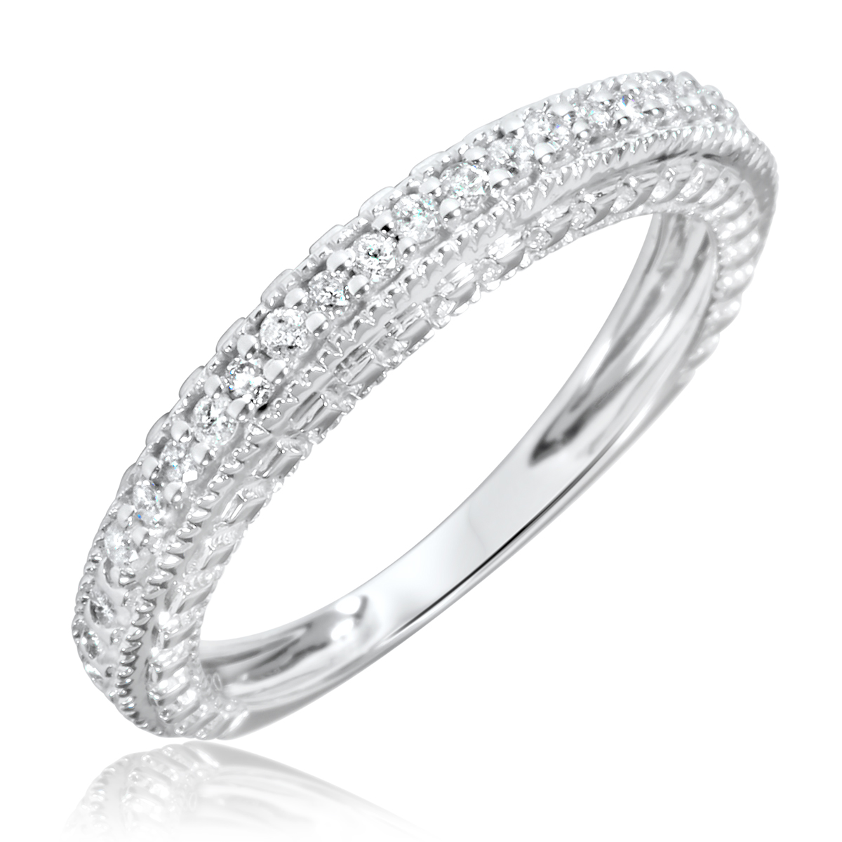 1/5 Carat T.W. Round Cut Diamond Women's Wedding Ring 14K White Gold- Size 8