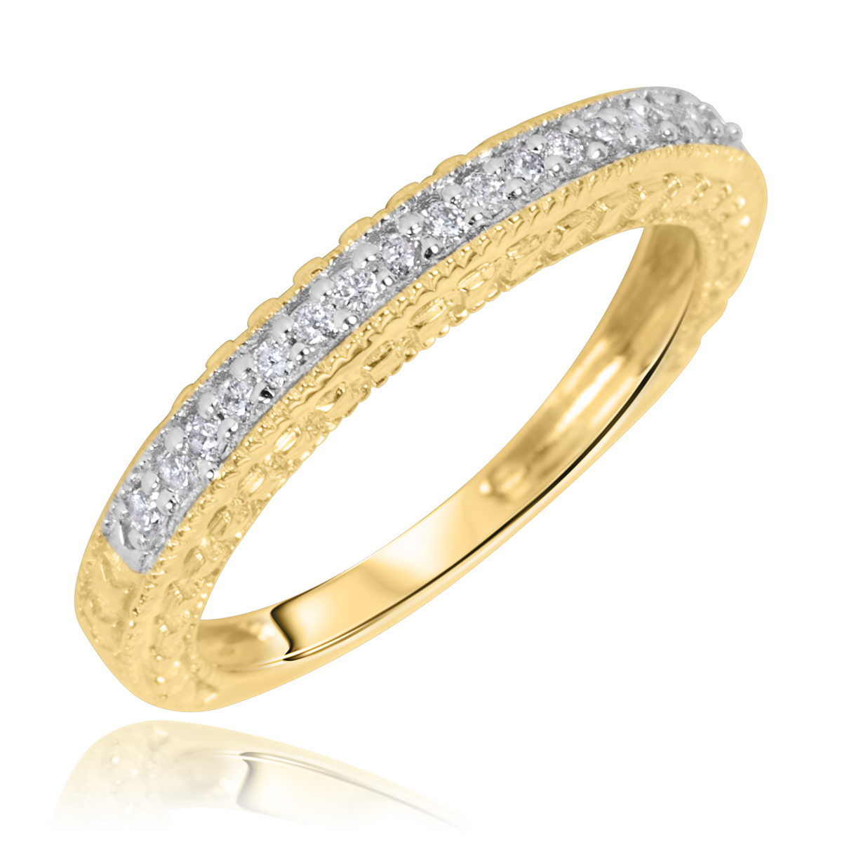 1/5 CT. T.W. Round Cut Diamond Ladies Wedding Band 14K Yellow Gold- Size 8