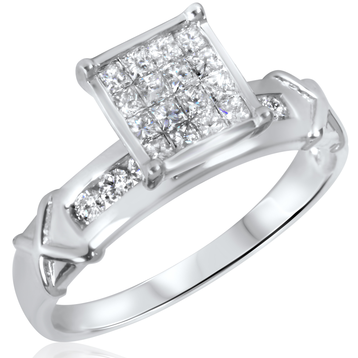 1/2 CT. T.W. Diamond Ladies Engagement Ring 10K White Gold- Size 8