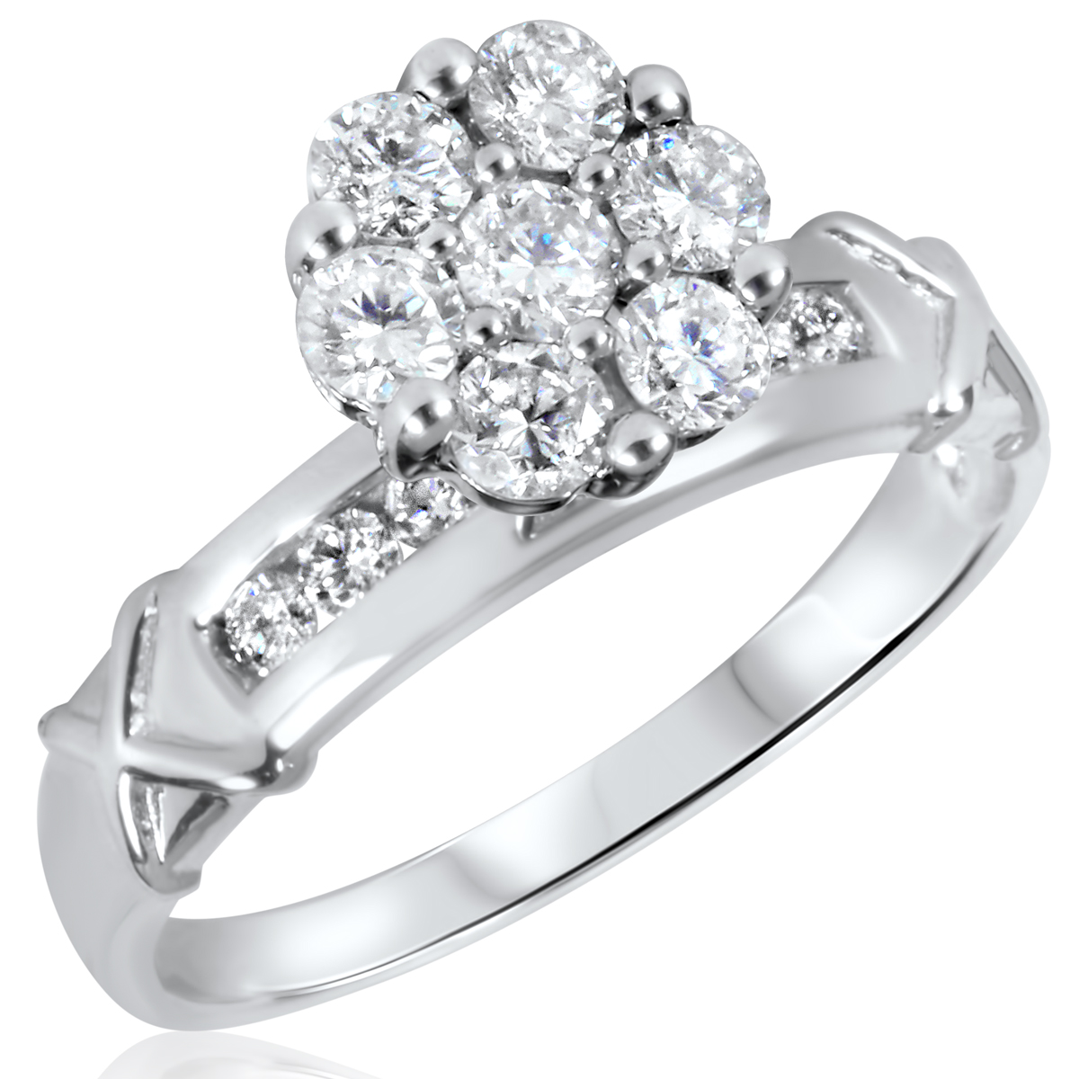 3/4 CT. T.W. Diamond Ladies Engagement Ring 10K White Gold- Size 8