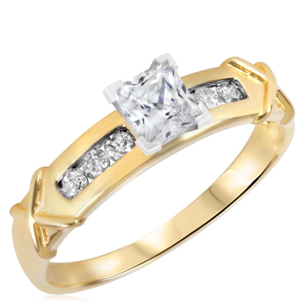 2/3 CT. T.W. Diamond Ladies Engagement Ring 10K Yellow Gold- Size 8