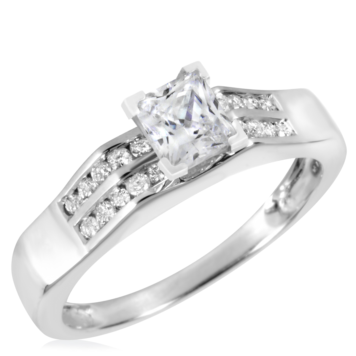 1 CT. T.W. Diamond Ladies Engagement Ring 10K White Gold- Size 8
