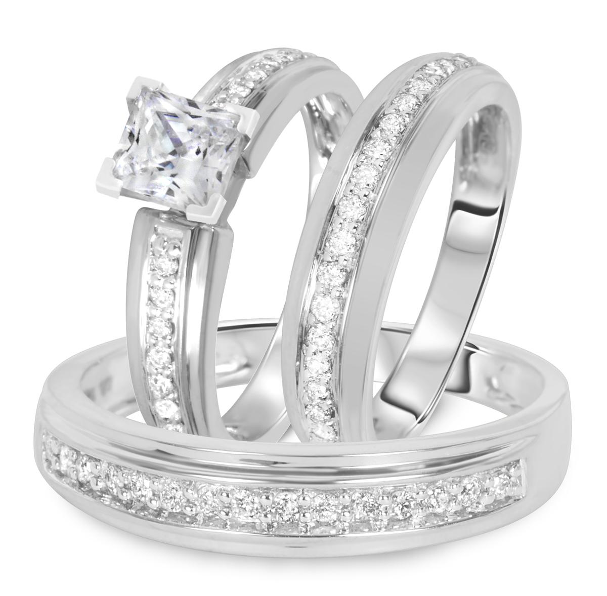 1 1/2 CT. T.W. Diamond Ladies Engagement Ring, Wedding Band, Men's Wedding Band