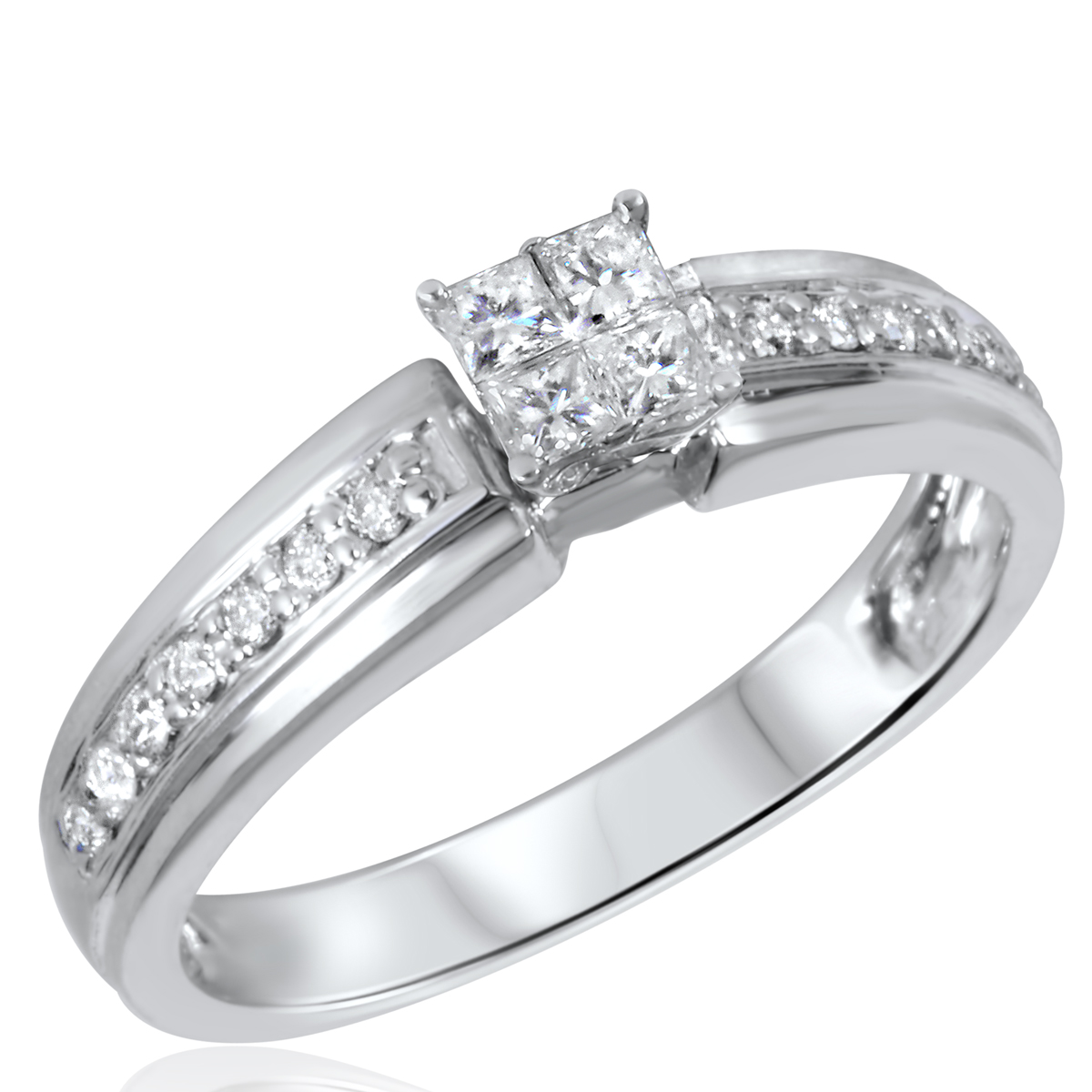 3/8 CT. T.W. Diamond Ladies Engagement Ring 14K White Gold- Size 8