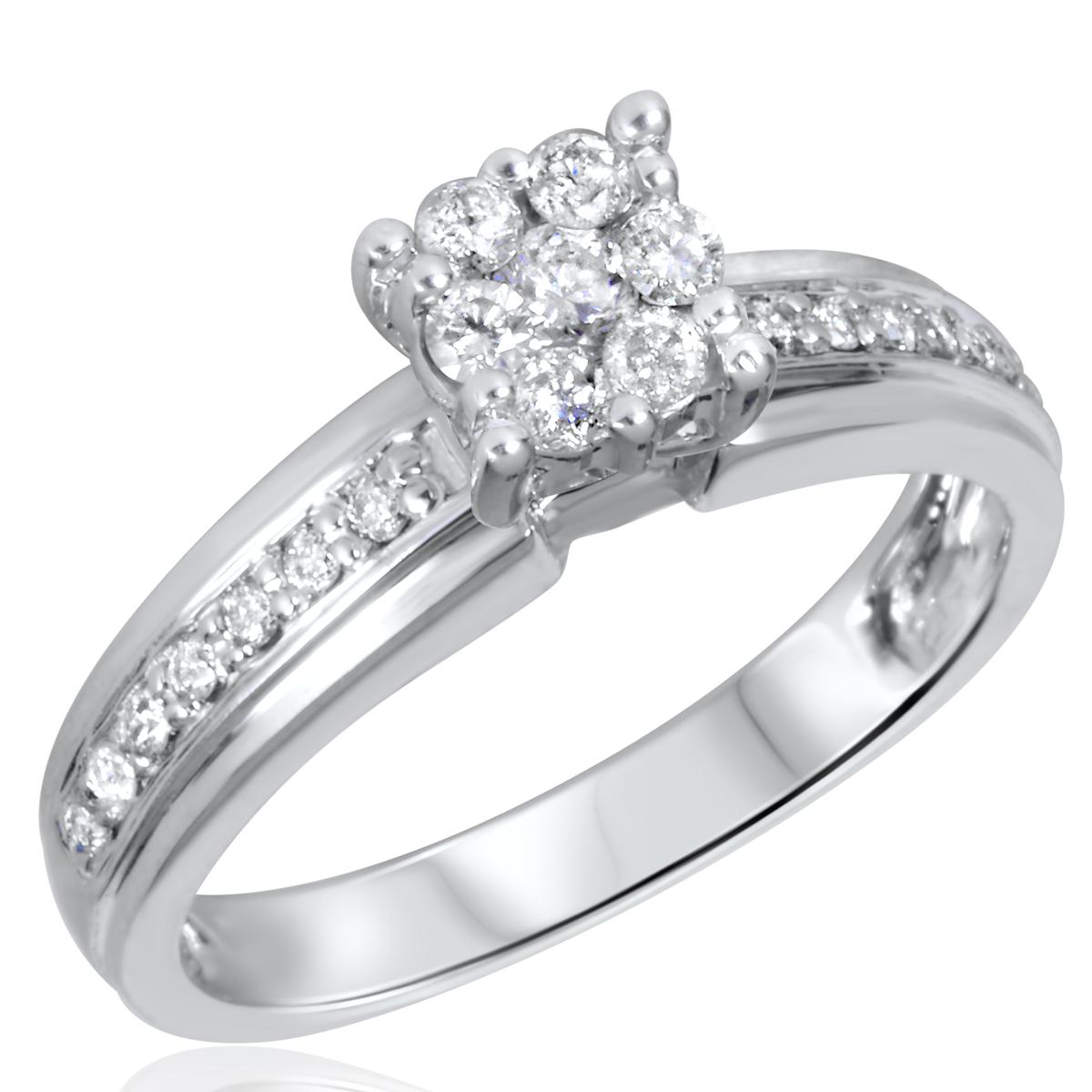 1/3 CT. T.W. Diamond Ladies Engagement Ring 14K White Gold- Size 8